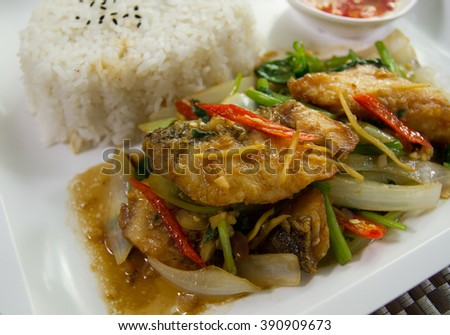 The Best Thai food Hot And  Spicy fried fish.