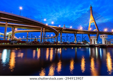 The Bhumibol Bridge also known as the Industrial Ring Road Bridge, at twilight, Bangkok, Thailand.