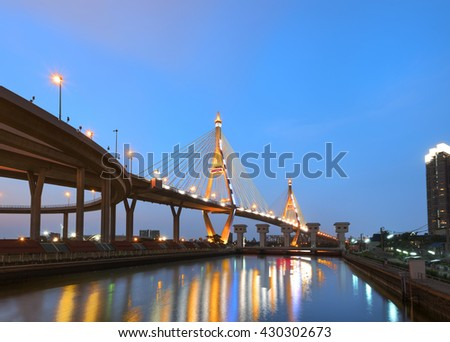 The Bhumibol Bridge is beautifully illuminated after sunset