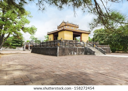 The Bi Dinh - Stele Pavilion - in Minh Mang Royal Tomb containing the Thanh Duc Than Cong stele. - stock photo