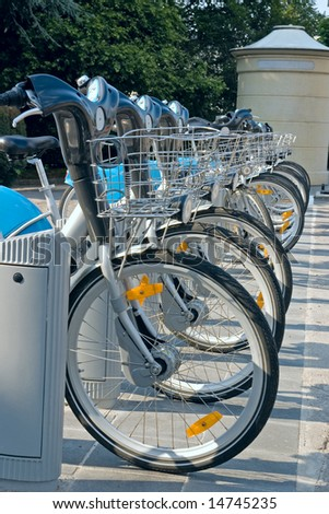 The bicycles are type of ecological and sporty public transport in Luxembourg.
