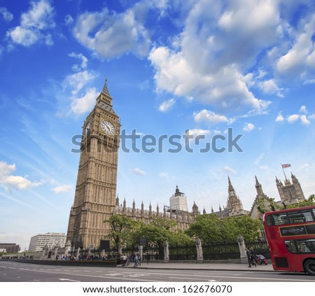 The Big Ben and Double Decker Bus in London. - stock photo