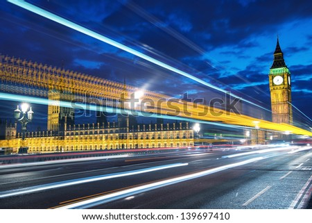 The Big Ben and the House of Parliament at night, London, UK - stock photo