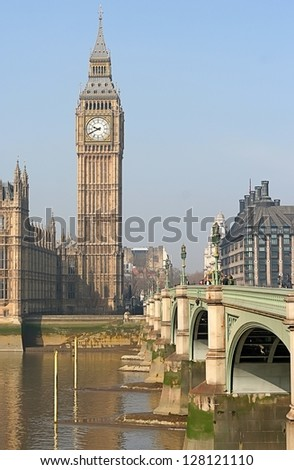 The Big Ben, the House of Parliament and the Westminster Bridge at night, London, UK - stock photo