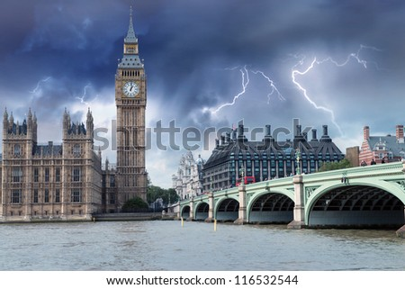The Big Ben, the Houses of Parliament and Westminster Bridge in London. - stock photo
