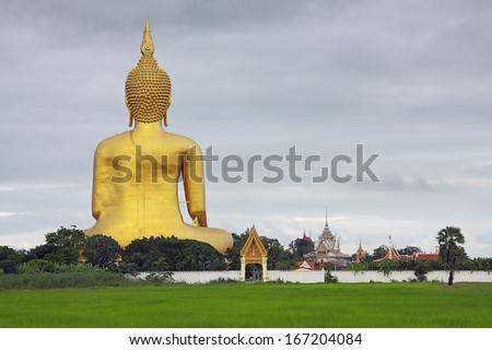 The Big Buddha is in temple of thailand. (Wat Muang)