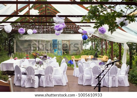 Big day outdoor wedding party old stock photo image royalty free the big day outdoor wedding party in old greenhouse with white tables and fresh nature junglespirit Images