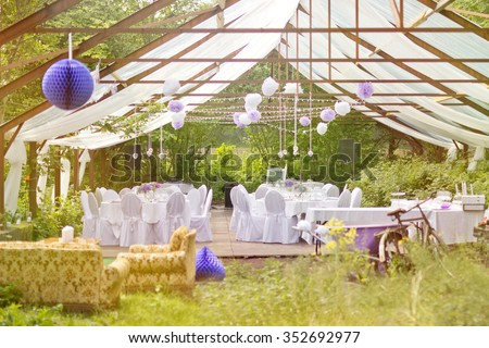 Wedding outdoor stock images royalty free images vectors the big day outdoor wedding party in old greenhouse with white tables and fresh nature junglespirit Image collections
