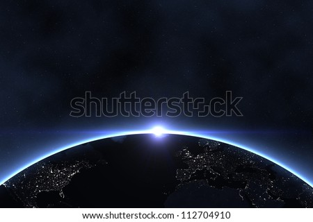 The big Earth like planet in the starry space. - stock photo