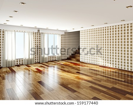 The big empty room with windows - stock photo