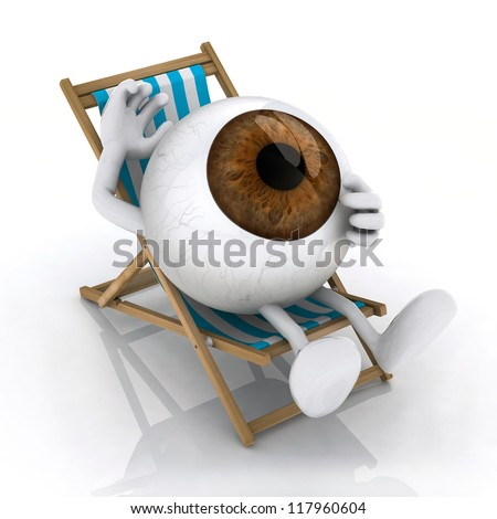 the big eye with arms and legs lying on beach chair, 3d illustration - stock photo
