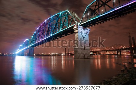 The Big Four Bridge is a six-span former railroad truss bridge that crosses the Ohio River, connecting Louisville, Kentucky, and Jeffersonville, Indiana, United States