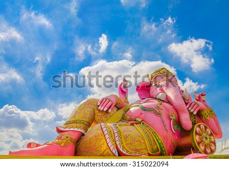 The big Ganesha statue with blue sky in temple,Thailand.