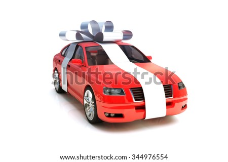 The big gift, Red generic car model with a silver bow isolated on a white background. - stock photo