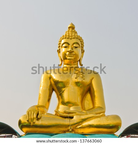 the big golden buddha in the public temple, Thailand
