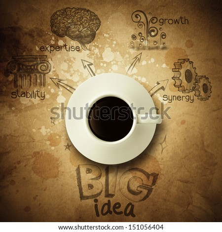 the big idea diagram cup of coffee vintage paper background and  wrinkled style - stock photo