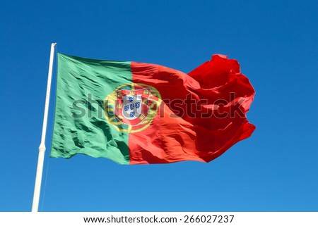 The big national flag of Portugal at the Eduardo vii park in Lisbon