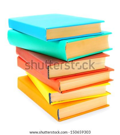 The big pile of multi-coloured books. On a white background.