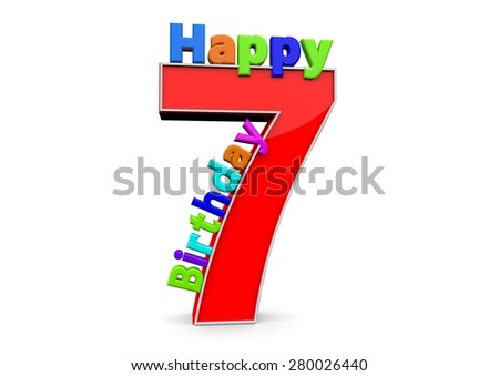 The big red number 7 with Happy Birthday in colorful letters - stock photo