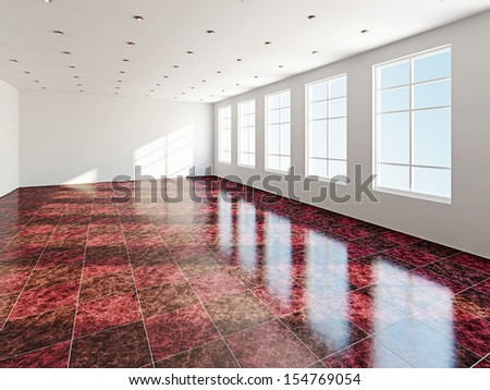 The big room with a panoramic  window  - stock photo