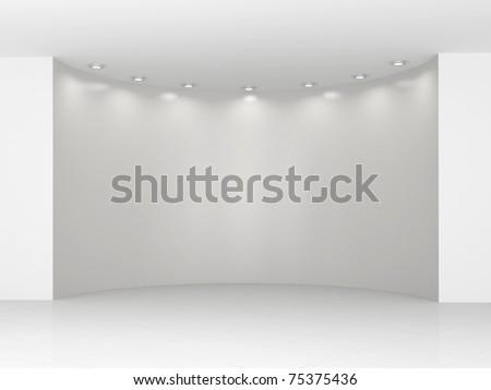 The big semicircular empty niche in a white hall - stock photo