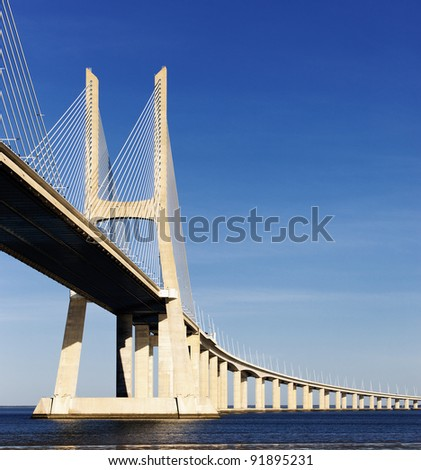 The big Vasco da Gama bridge in Lisbon, Portugal