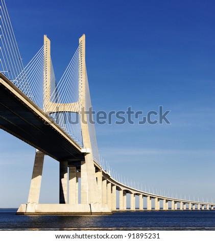 The big Vasco da Gama bridge in Lisbon, Portugal - stock photo