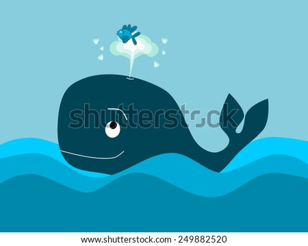 The big whale and the little fish - stock photo