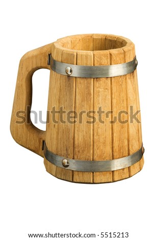 The big wooden beer mug collected from plates, isolated on white - stock photo