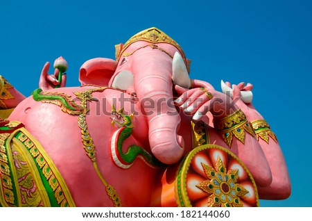The biggest Ganesha statue in public temple,Thailand. - stock photo