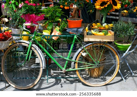 The bike is used as the stall at the village market. Provence, France - stock photo