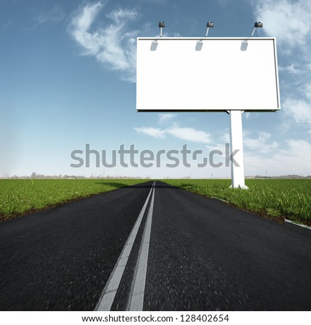 the billboard and road outdoor - stock photo