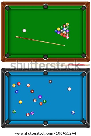The billiard table with a cue and balls isolated on a white background - stock photo