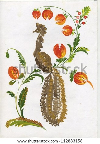 The bird and flowers - stock photo
