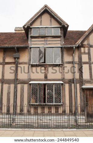 The Birthplace of William Shakespeare on Henley Street in Stratford upon Avon, Warwickshire, England, UK - stock photo