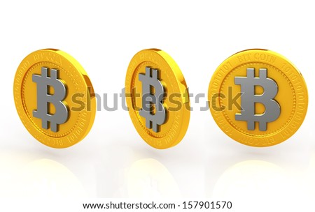 The bit coin three kinds of white background