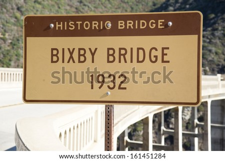 The Bixby Bridge on the west coast of California in Big Sur. - stock photo