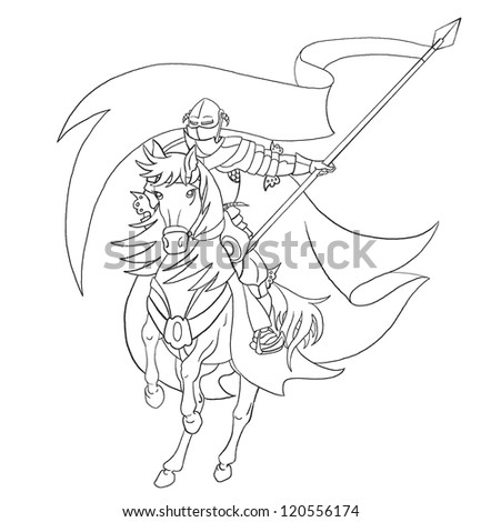 The black-and-white knight on a  horse with a flag - stock photo