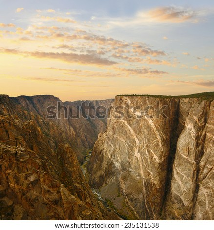 The Black Canyon of the Gunnison at Sunset - stock photo