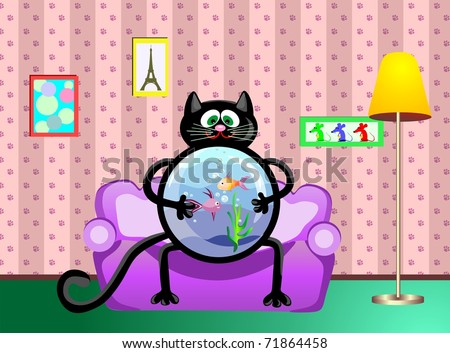The black cat with an aquarium in hands sits on a sofa, in the cat's room. - stock photo