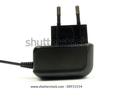 The black charger for a mobile phone