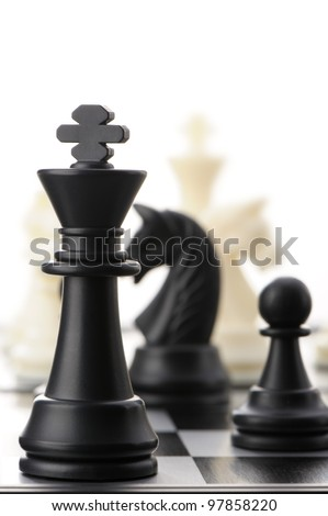 The black chess king. Selective focus