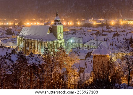 The Black Church, a cathedral in Brasov, night view. - stock photo
