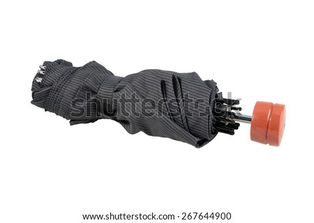 the black closed umbrella isolated on white background - stock photo