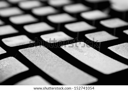 The black computer keyboard close up - stock photo