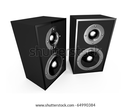The black 3d speakers on the white background