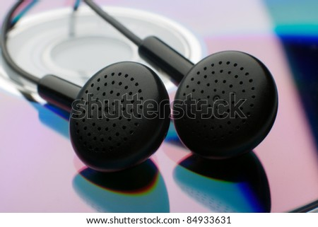 the black Earphones on white background - stock photo
