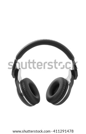 The black headphones Isolated on white, clipping path