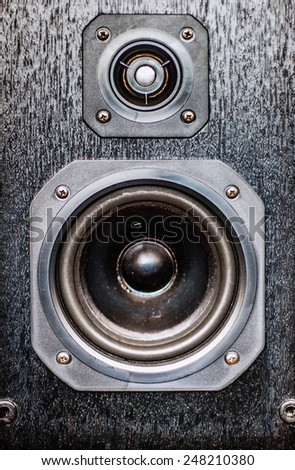 The black hi-fi sound speakers  - stock photo