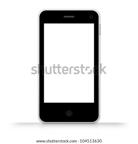 The Black Mobile Phone With Blank White Screen Isolate on White Background